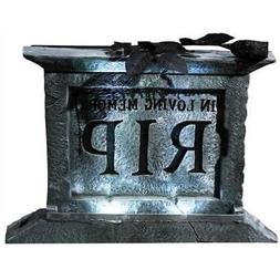 Halloween Yard Décor Lighted RIP Tombstone Pedestal w/ Blac