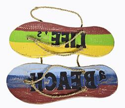 Hand Carved FLIP FLOP LIFE'S A BEACH SIGN towels beach Surfb