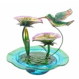 Peaktop Hand Painted Hummingbird Glass Water Fountain