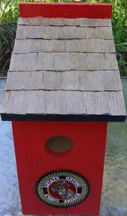 HANDCRAFTED~WOOD~MILITARY~MARINES~BIRDHOUSE~OUTDOOR~LAWN~GAR