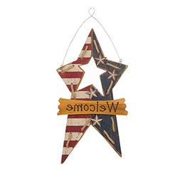 Glitzhome Handcrafted Wooden Patriotic Star Hanging Wall Sig