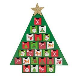Glitzhome Christmas Wooden Tree Countdown, Advent Calendar w