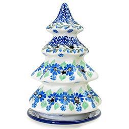 "Polish Pottery Handmade 8"" Christmas Tree Luminary Star Cu"