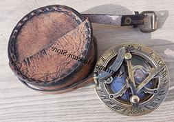 Handmade Brass Sundial Compass - Pocket Sundial -Brass Antiq