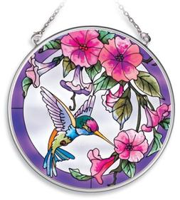 Amia Handpainted Glass Pink Morning Glory and Hummingbird Su