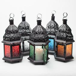 Richland Hanging Lantern Moroccan Metal with Embossed Glass