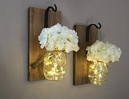 Rustic Hanging Mason Jar Sconces with LED Fairy Lights, Maso