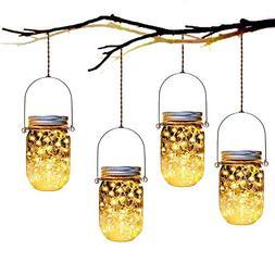 Yitee Hanging Solar Jar Lights ,4 Pack 30 LED Fairy Firefly