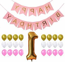 1st Happy Birthday Fishtail flag Bunting Banner + 24pcs Ball