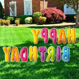 Happy Birthday Party Yard Signs w/ Stakes Corrugated Plastic
