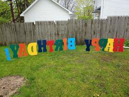 "Happy Birthday Yard Letters - 24"" Tall Waterproof Coroplast"