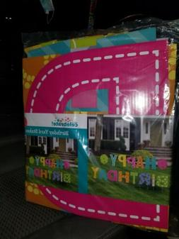 """Happy Birthday Yard Sign Stakes 16"""" Big Letters 15 Pieces"""