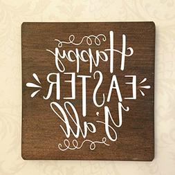 """Happy Easter Y'all Rustic Wooden Sign Approx 9""""X9"""""""