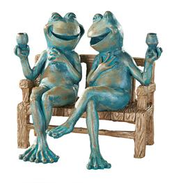 Happy Hour Frog Couple Garden Statue Home Outdoor Patio Lawn