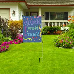 """HAPPY NEW YEAR Garden Flag, 12"""" X 18"""" Colorful Outdoor Party"""