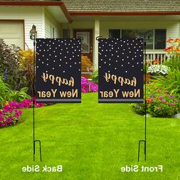 HAPPY NEW YEAR Garden Flag, Holiday Party Decor Double Sided