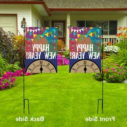 HAPPY NEW YEAR Garden Flag, Outdoor Party Decor Double Sided