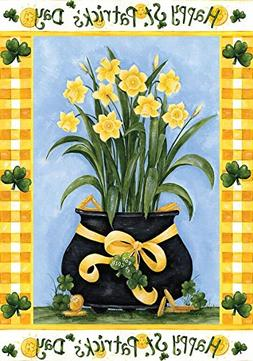 Happy St. Patrick's Day Garden Flag Pot of Gold Daffodils 12