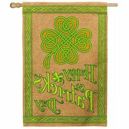 Evergreen Happy St. Patrick's Day Double Sided Burlap & Glit