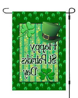 Happy St Patricks Day Irish Clover Garden Banner Flag 12x17