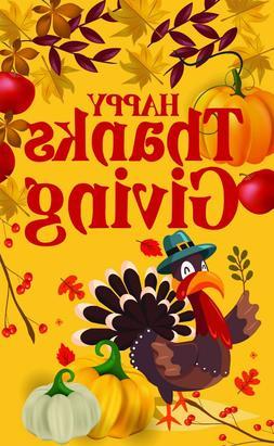 Happy Thanksgiving Garden Flag Turkey Banner 12x18 2-Sided H