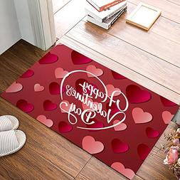 Happy Valentine'S Day With Heart Shaped Pattern Door Mat Rug