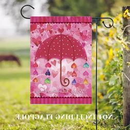 Happy Valentine's Day Linen Garden Flag Umbrella Banner Outd