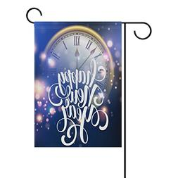 ALAZA Happy New Year with Clock Polyester Garden Flag House