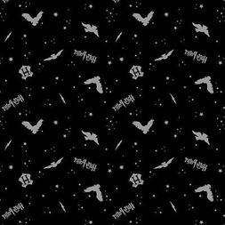Harry Potter Flannel Fabric, Black with Metallic, By The Yar