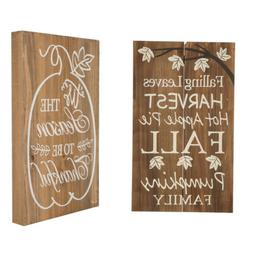 Glitzhome Harvest Thanksgiving Solid Wooden Wall Hanging Sig