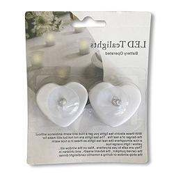 The Heart Shaped LED Tealight Candles, Set of 2, Batteries I