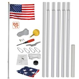 Heavy Duty Aluminum 20' Sectional Flag Pole Kit w/ 3' x 5' U