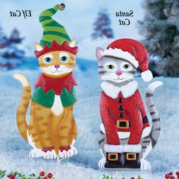 Holiday Characters Cat Outdoor Stake, Santa Cat