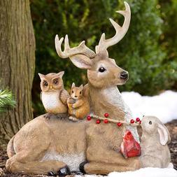 Holiday Deer Figurine Sculpture Christmas Outdoor Garden Yar