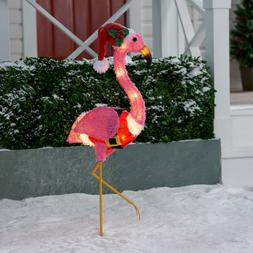 Holiday Light-up Fluffy Christmas Pink Flamingo Home Outdoor