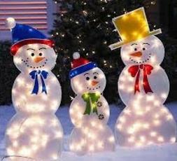 Holiday Outdoor indoor Frozen Snowmen Family Lighted Yard De
