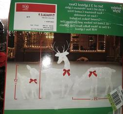 Holiday Style 3PC Yard Decor Lighted Buck Doe Deer Fawn Chri