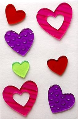 Holiday Valentine's Day Hearts Gel Window Clings - 7 Piece