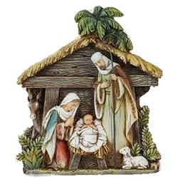 Holy Family with Stable Resin Nativity Figurine