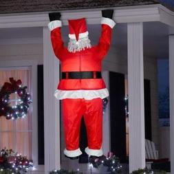 Gemmy Airblown Inflatable Realistic Santa Hanging from Gutte