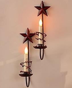 Primitive Country Home Collection - Stars Set of 2 LED Candl