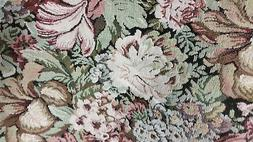 Home Decor Heavy Upholstery Floral Brown Green Red Fabric by
