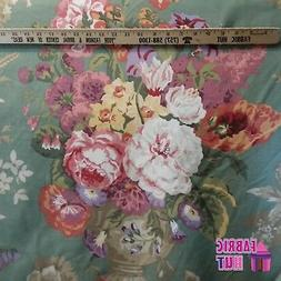 Home Decor Large Flower Vase Green Pink Heavy Upholstery Fab