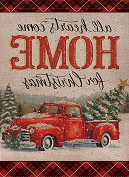 Selmad Home Decorative Christmas Garden Flag Red Truck Doubl