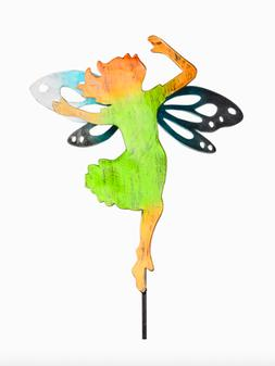 HOME POOL DECOR - COLORFUL METAL GARDEN FAIRY YARD STAKE - P