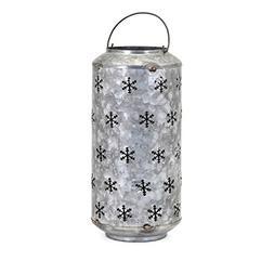 Benzara Homestead Christmas Large Metal Snowflake Lantern-Gr