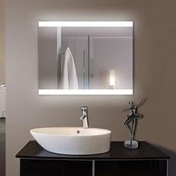 36 x 28 in Horizontal LED Bathroom Silvered Mirror with Touc