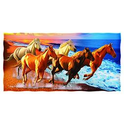 Horses on the Beach Cotton Beach Towel by Dawhud Direct
