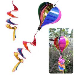 Hot Air Balloon Wind Spinner Rainbow Sequins Windsock Stripe