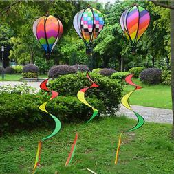 Hot Air Balloon Wind Spinner with Rainbow Stripe Garden Yard